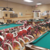 Christmas bikes stand ready for recipients